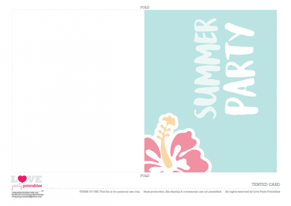 Tented cards Summer Party Printables | CatchMyParty.com