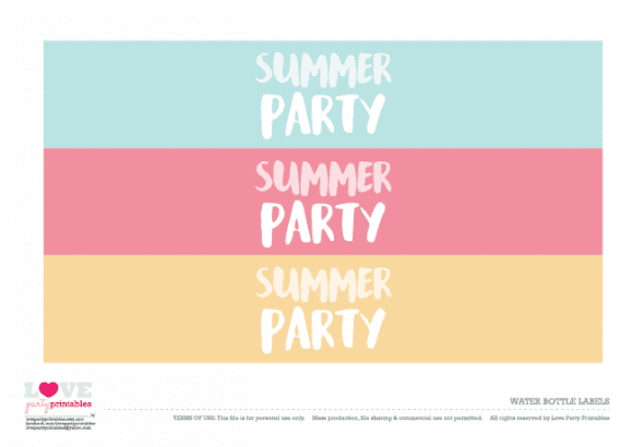 Water bottle labels Summer Party Printables | CatchMyParty.com