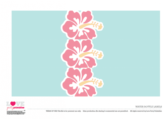 Hawaiian Summer Party Printables - Water bottle labels  | CatchMyParty.com