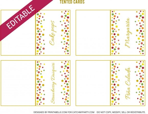 Editable Free Gold Polka Dot Birthday Printable Tented Cards