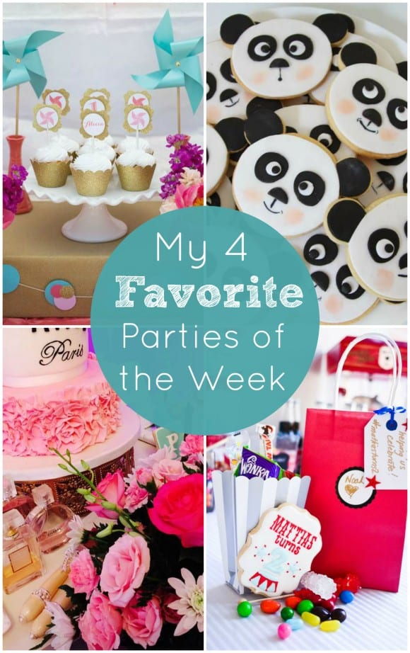 My 4 Favorite Parties including a vintage carnival party, a panda party, a pinwheel party, and a Parisian birthday! | CatchMyParty.com