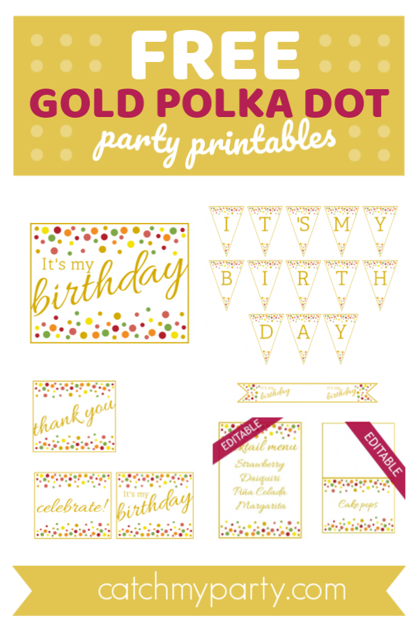 Collage of Free Gold Polka Dot Party Printables | CatchMyParty.com