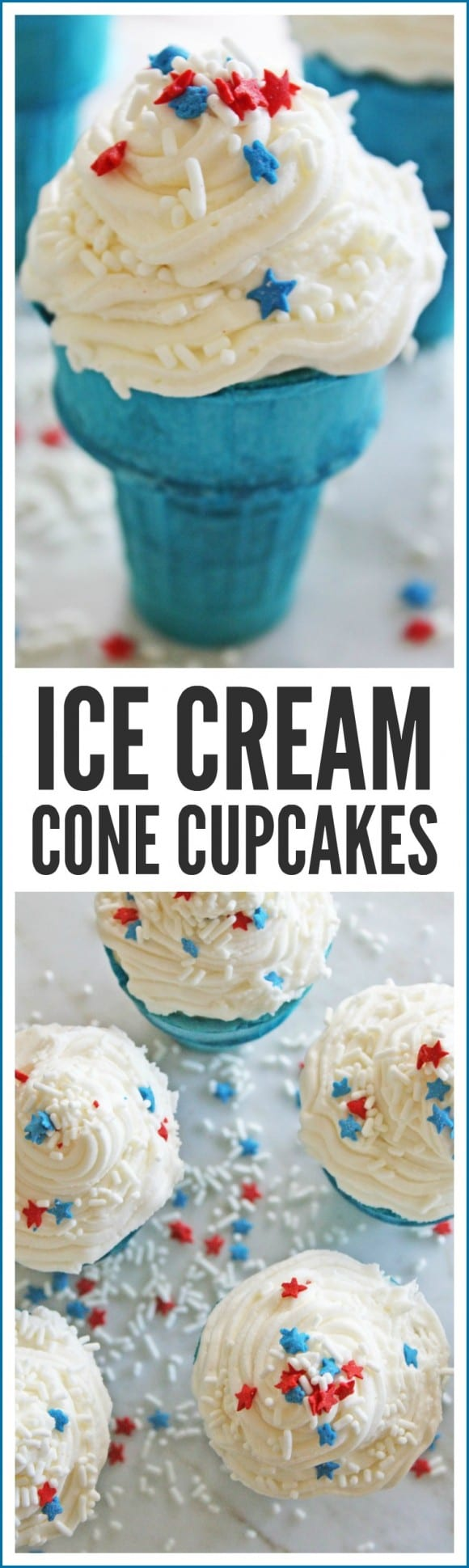 Patriotic Ice Cream Cone Cupcakes | CatchMyParty.com