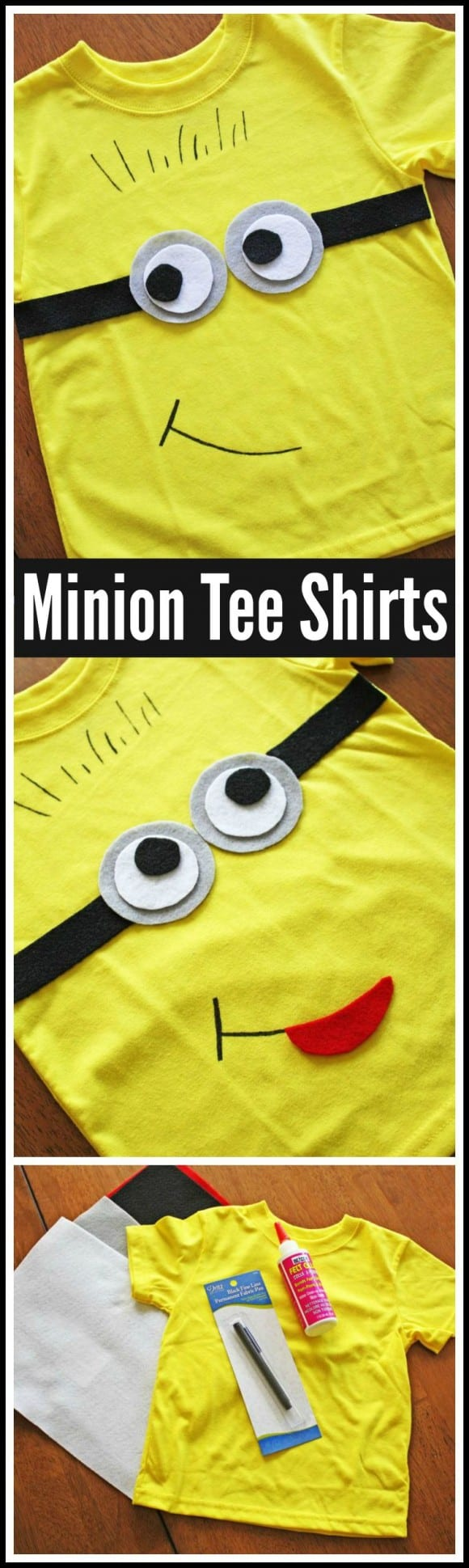 Minions Tee Shirt DIY. Make these as party favors or a party craft at your Minion birthday party! |CatchMyParty.com