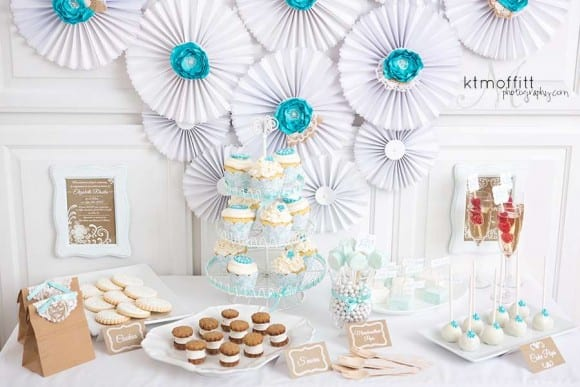 Blue and white bridal shower | CatchMyParty.com