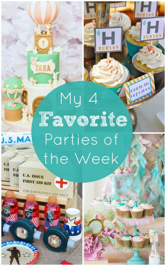 My 4 favorite parties of the week include a hot air balloon 1st birthday, a patriotic army party, a mermaid birthday, and a science party! | CatchMyParty.com