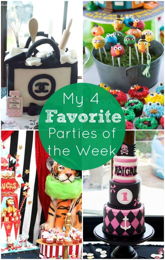 My 4 Favorite Parties of the Week include a Chanel bridal shower, a Sesame Street baby shower, a girl pirate party, and a vintage circus 1st birthday. Take a look! | CatchMyParty.com