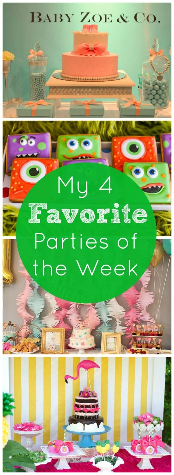 My 4 favorite parties of the week include a Tiffany and Co. baby shower, a monster 1st birthday bash, a twinkle twinkle 1st birthday, and a flamingo and pineapple party! | CatchMyParty.com