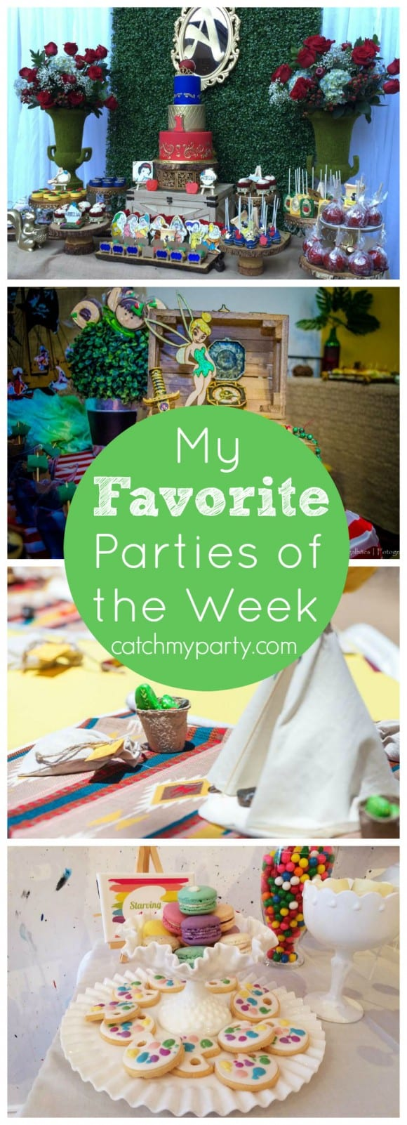 My Favorite Parties of the Week include a Snow White princess party, a Peter Pan party, a Native American birthday, and a starving artist party! | CatchMyParty,com