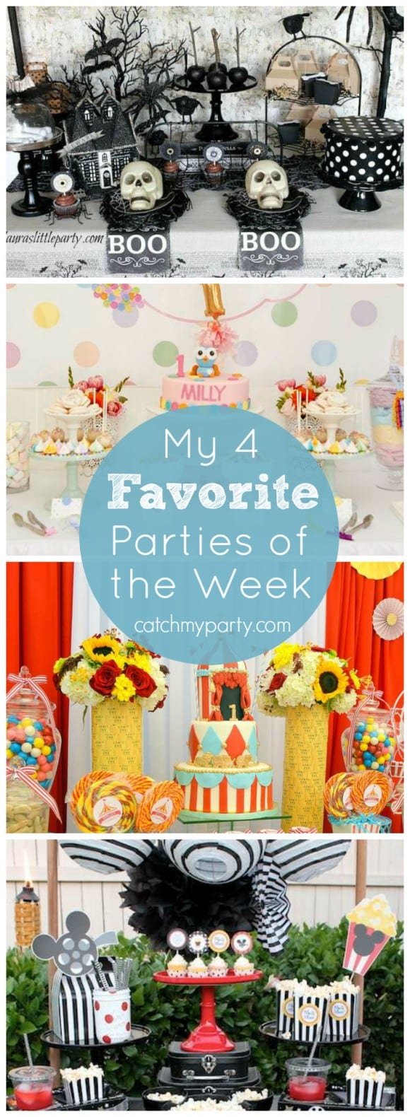My Four Favorite Parties of the Week include a Mickey Mouse movie night party, an owl 1st birthday party, a glam circus birthday, and an All Hallow's Eve Halloween party! | CatchMyParty.com