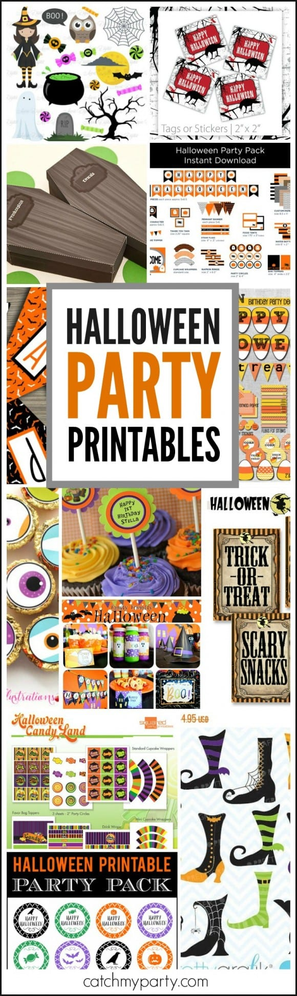 Halloween Party Printables for throwing a Halloween party | CatchMyParty.com