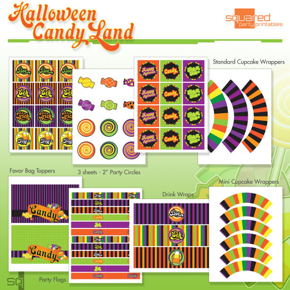 Halloween Candy Land Party Printables from Squared Party Printables | CatchMyParty.com