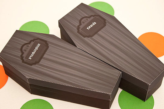 Halloween Coffin Favor Boxes from Piggy Bank Parties | CatchMyParty.com