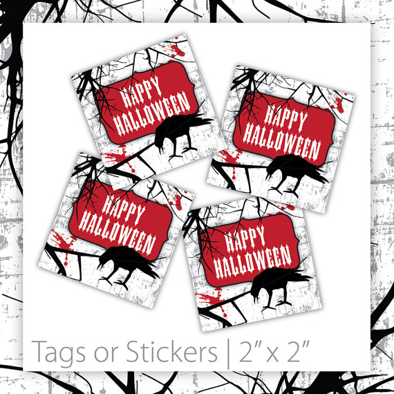 Gothic Halloween Party Tags from Black Cherry Printable | CatchMyParty.com