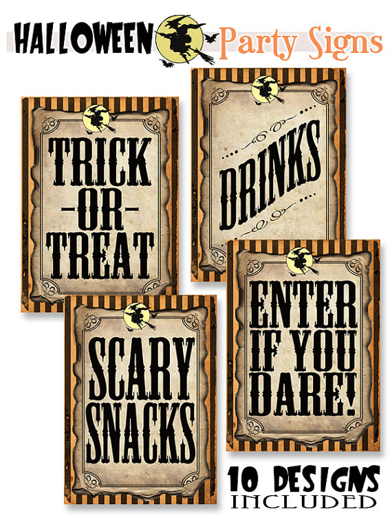 Halloween Party/Game Signs from Sassaby Parties | CatchMyParty.com