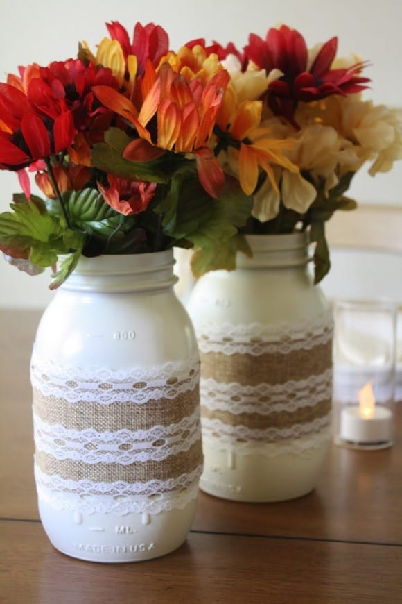 Mason Jar Centerpieces | CatchMyParty.com