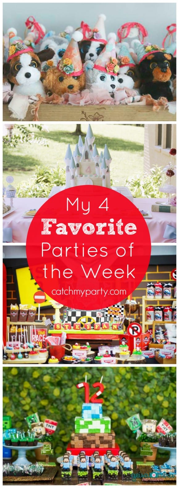My Favorite Parties of the Week include an puppy birthday party, a princess party, a Disney Cars party, and a Minecraft party! | CatchMyParty.com