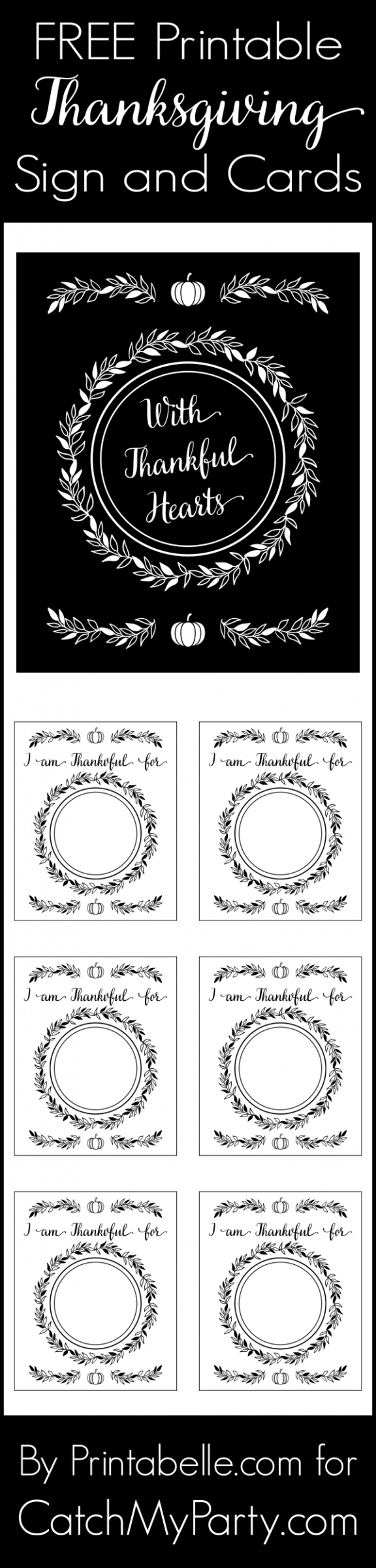 "Free Printable ""With Thankful Hearts"" Thanksgiving Sign and Cards. See more free printables for Thanksgiving at CatchMyParty.com."