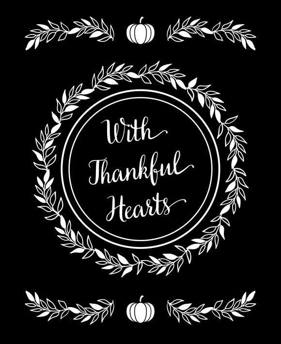 """With Thankful Hearts"" Thanksgiving Sign 