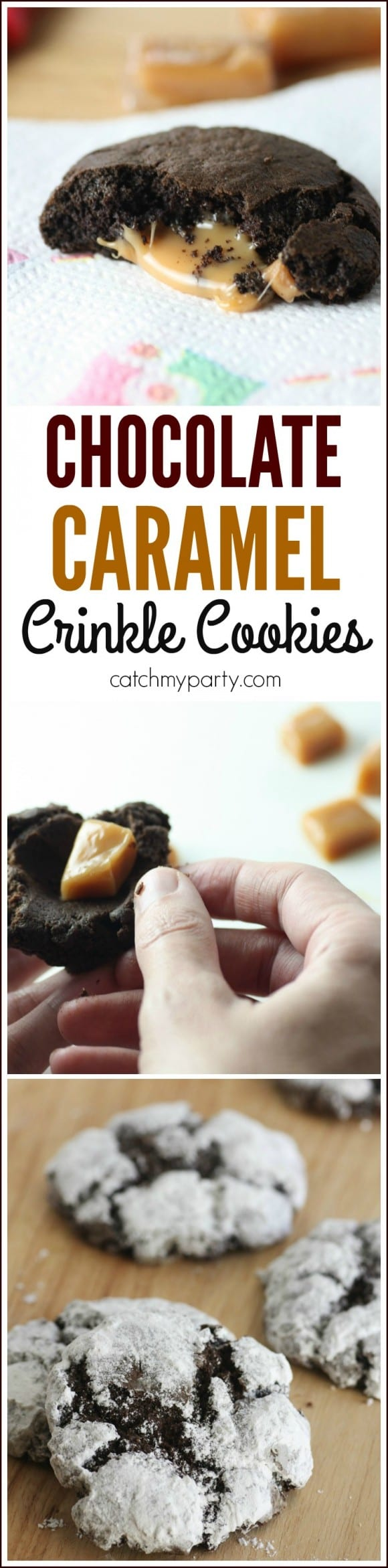 Easy Caramel Chocolate Crinkle Cookie Recipe | CatchMyParty.com