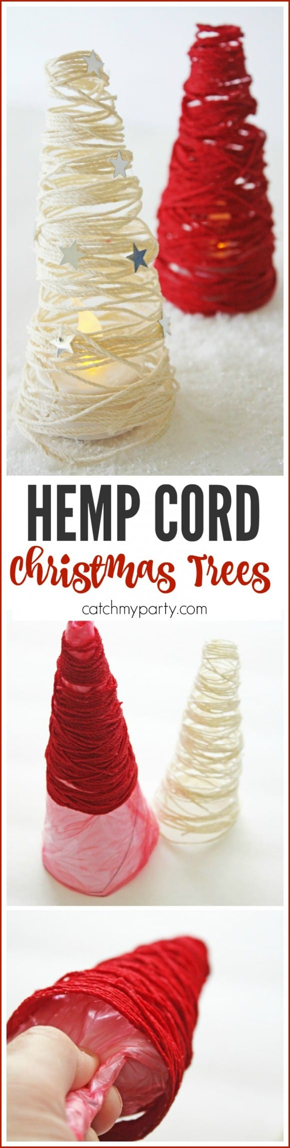 Hemp cord Christmas Tree DIY Craft | CatchMyParty.com