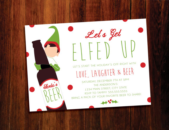 Elfed Up Holiday Invitation | CatchMyParty.com