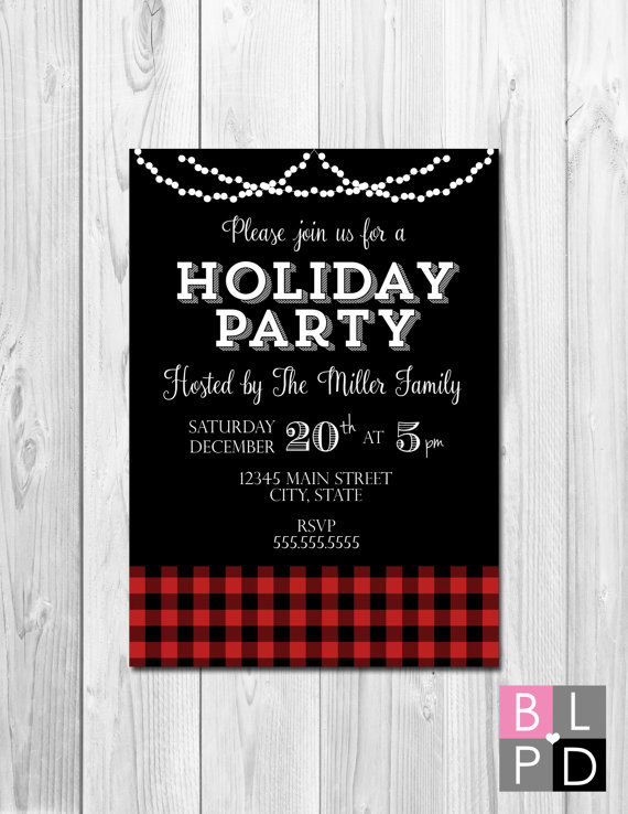Holiday Party Invitation - Buffalo Plaid and String Lights