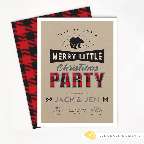 Printable Christmas Invitation - Holiday Buffalo Plaid, Lumberjack Party, Rustic Invite, Woodland Printable | CatchMyParty.com