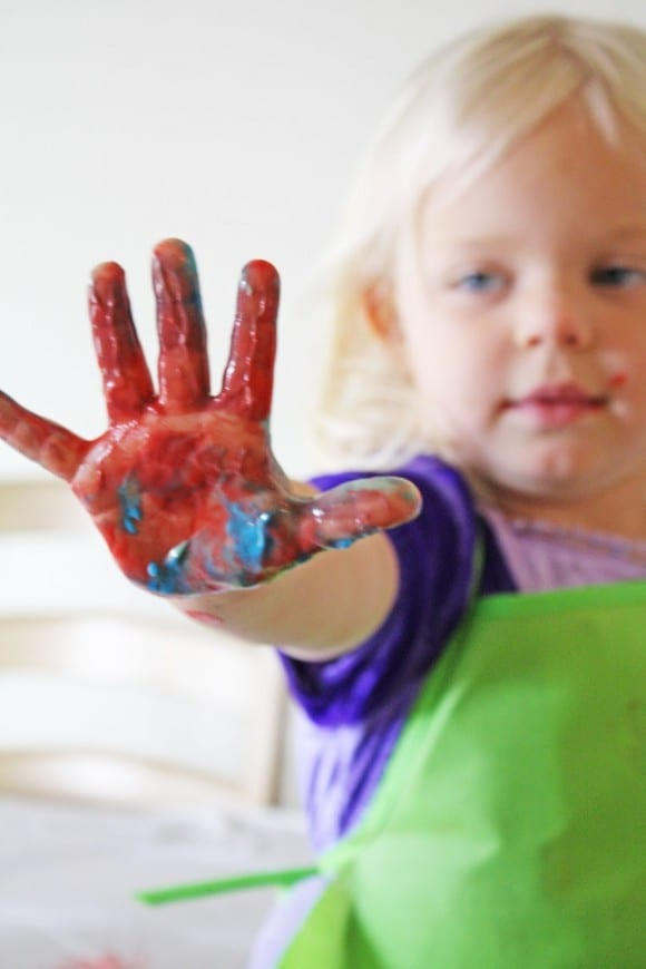 Greek yogurt kids finger paint | CatchMyParty.com