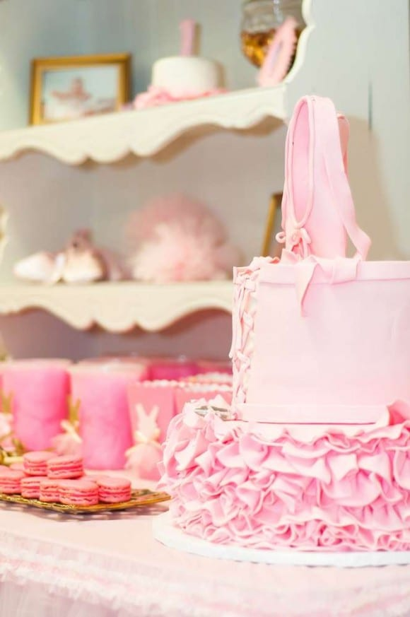 Girl 1st Birthday Ballerina party | CatchMyParty.com