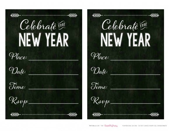 Free Chalkboard New Year's Invitations | CatchMyParty.com