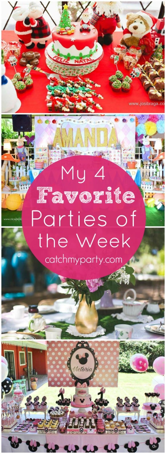 My favorite parties this week include Christmas in a Castle, an Alice in Wonderland Party, a Fairy Party, and a Minnie Mouse party! | CatchMyParty.com