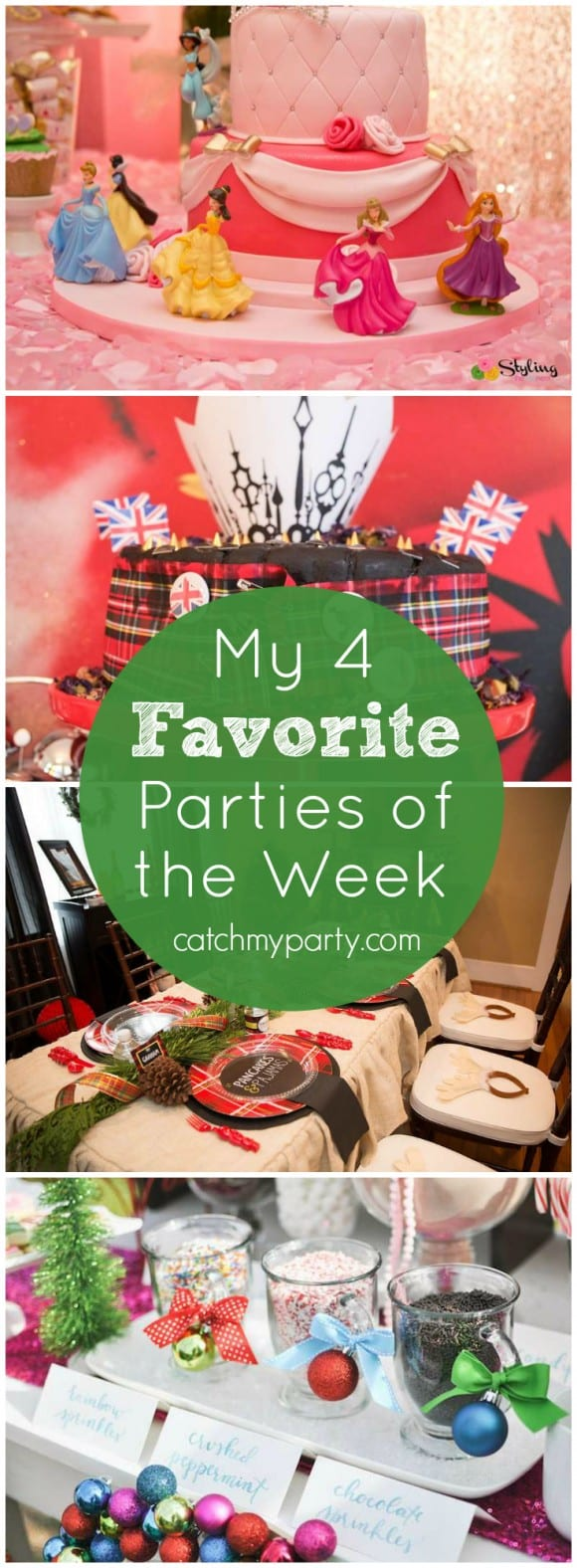 My 4 favorite parties of the week include a Pancakes and PJs party, Disney Princesses birthday party, a glam New Year's Eve party, and a hot cocoa bar | CatchMyParty.com