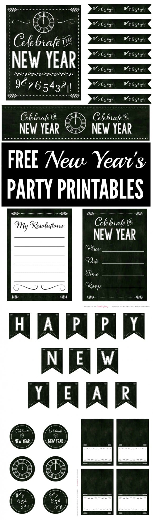 Free Chalkboard New Year's Party Printables | CatchMyParty.com