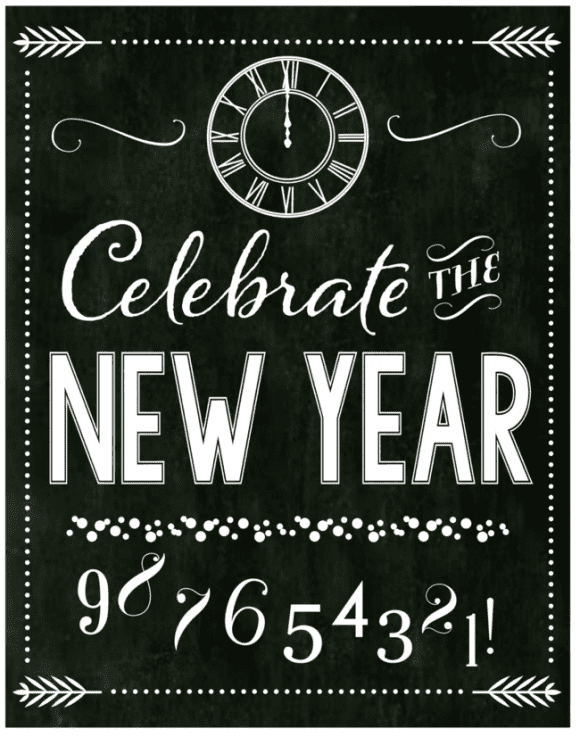 Free Chalkboard New Year's Party Printables - full set! | CatchMyParty.com