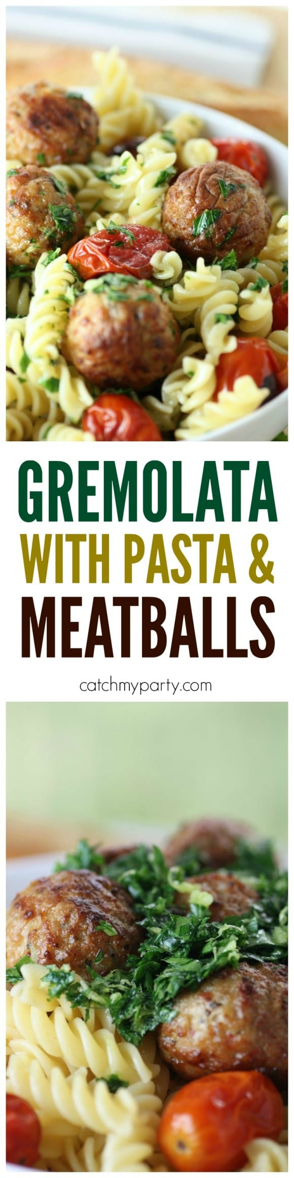 Easy gremolata recipe, perfect to serve with pasta and meatballs! | CatchMyParty.com