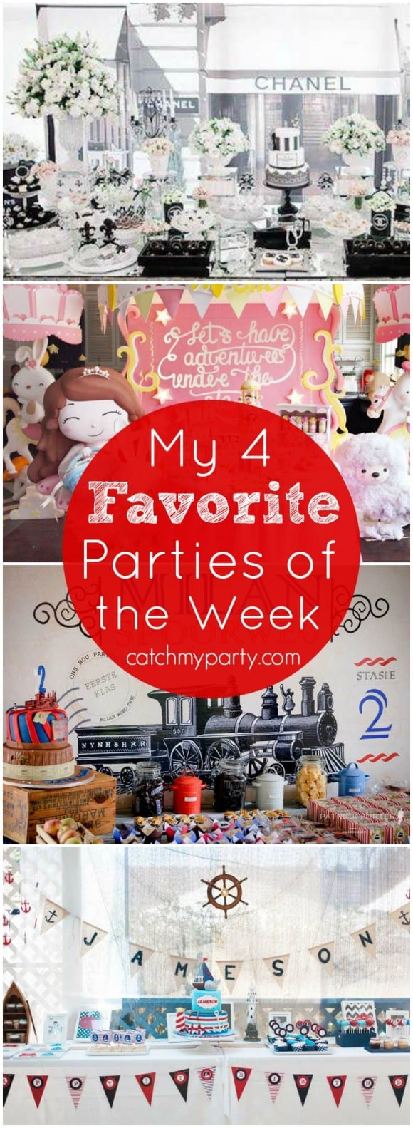 My favorite parties this week are a stylish Chanel 30 birthday, a pink and gold star party, a vintage train party, and a nautical party!