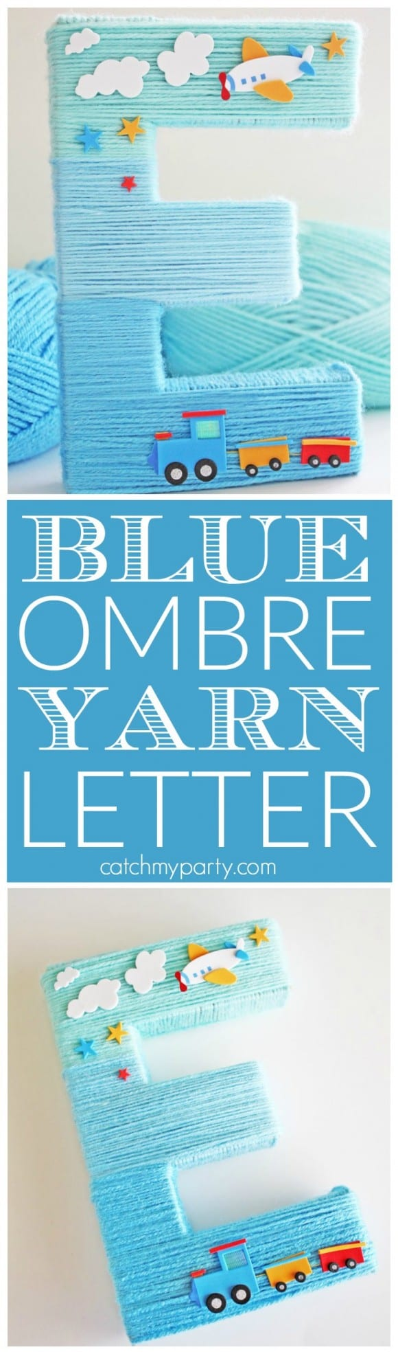 Blue Yarn Wrapped Ombre Monogram Letter | CatchMyParty.com