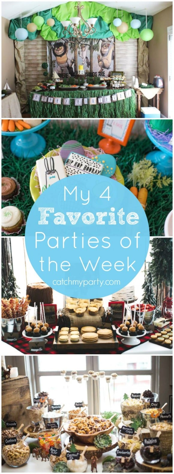 My four favorite parties this week: a Where the Wild Things Are party, an Easter dance party, a lumberjack birthday party, and a bohemian baby shower! | CatchMyParty.com