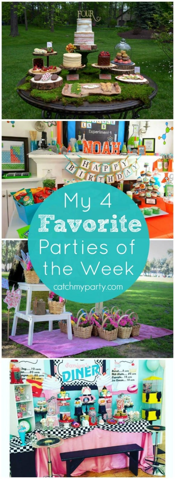 My 4 Favorite Parties of the Week: an enchanted forest party, a science party, a picnic party, and 50's diner party! | CatchMyParty.com