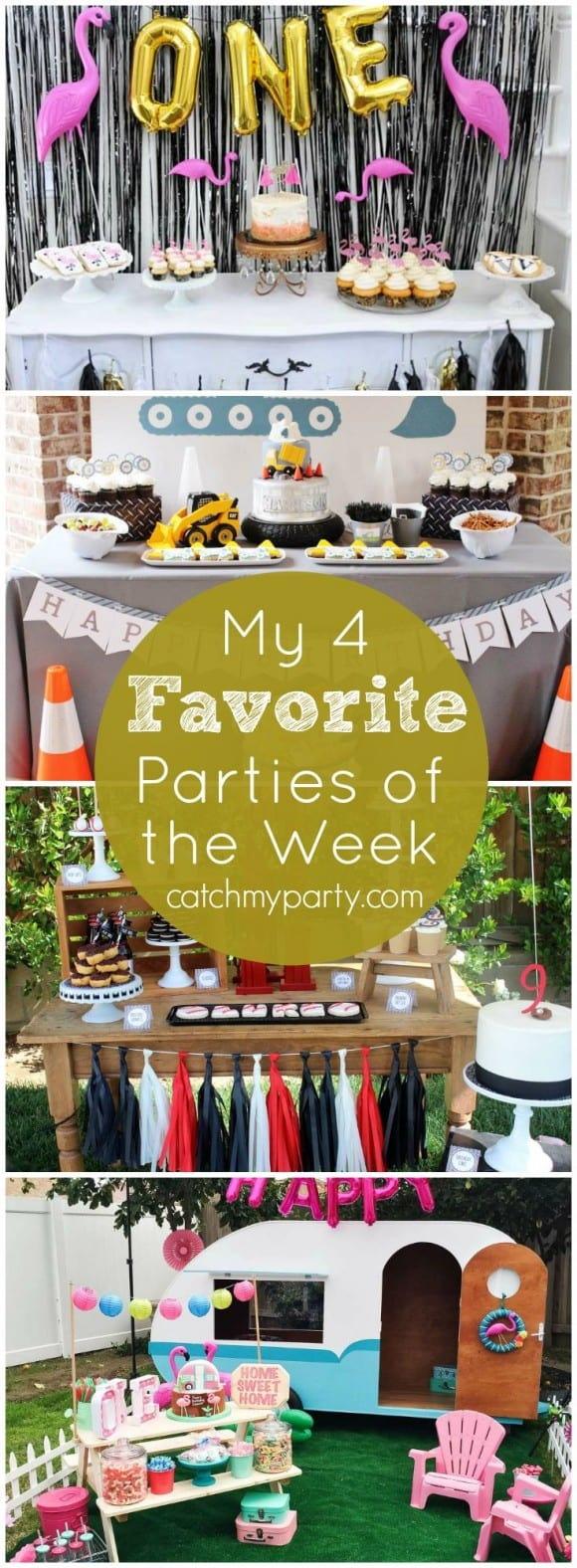 My 4 favorite parties include: a flamingo party, a construction party, a baseball party, and a camper party. These are all incredible! | CatchMyParty.com