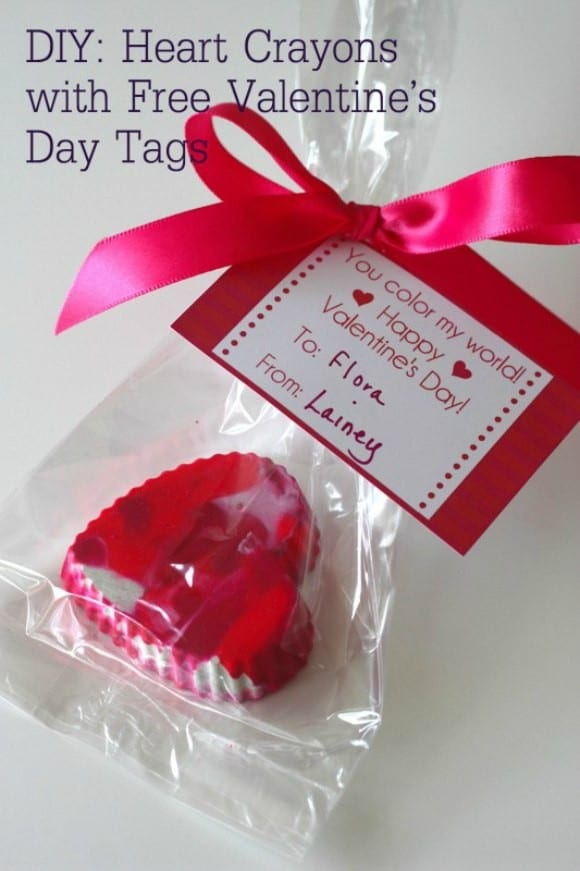 Heart Crayon DIY with free Valentine's Day Printable | CatchMyParty.com