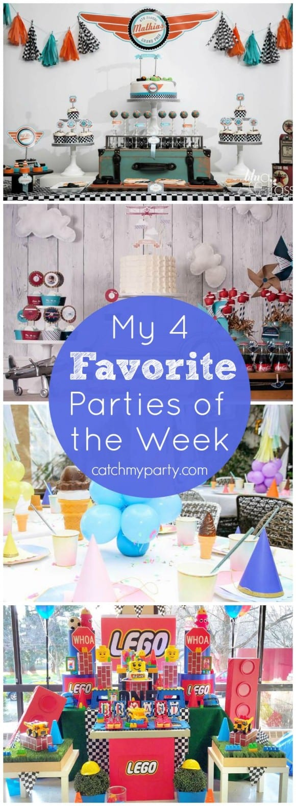 My 4 Favorite Parties of the Week: Race car party, ice cream party, Legos party, and an airplane party! You must see these! | CatchMyParty.com