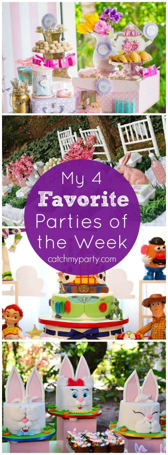 This week my favorite parties include a garden tea party birthday, an Easter egg hunt party, an awesome Toy Story party, and an Easter picnic held outside | CatchMyParty.com