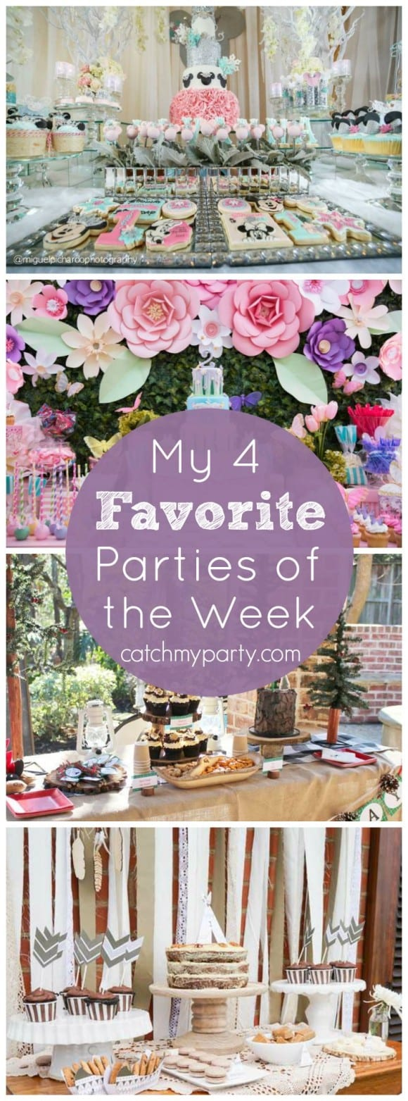 My 4 Favorite Parties of the Week: Minnie Mouse Winter Wonderland party, a butterfly and flower birthday, a lumberjack 1st birthday, and a tribal 1st birthday | Catchmyparty.com