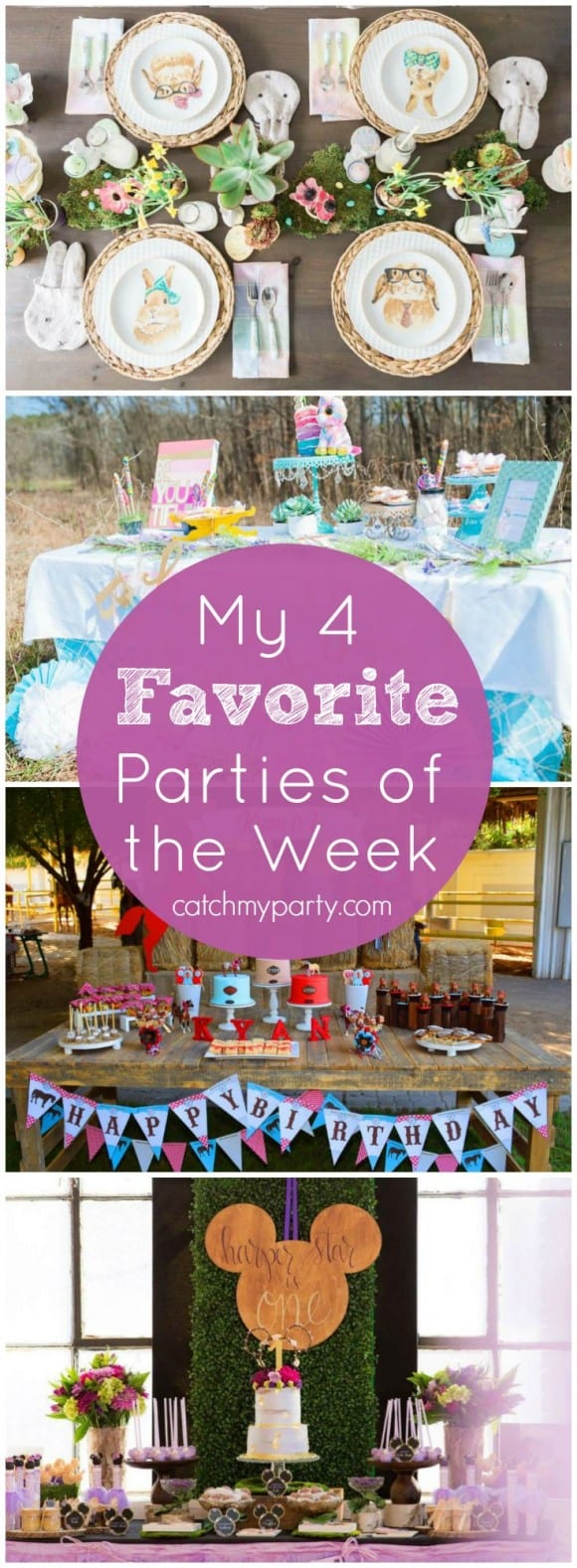 This week my favorite parties include a kids' Easter party, a magical party with fairies, unicorns and rainbows, a rustic horse birthday party, and an incredible woodland Minnie Mouse Party!| Catchmyparty.com