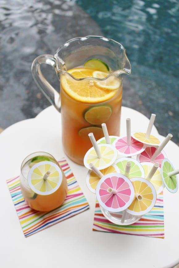 Summer Citrus Mocktail Sangria Recipe & Free Printables | CatchMyParty.com