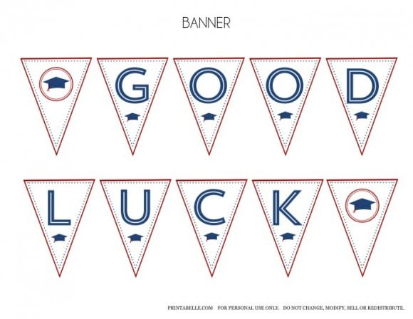 Free Red & Blue Preppy Graduation Good Luck Party Banner | CatchMyParty.com