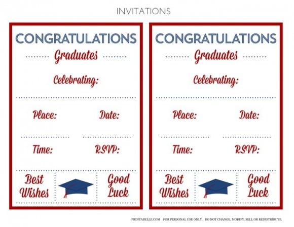Free Red & Blue Preppy Graduation Party Invitations | CatchMyParty.com