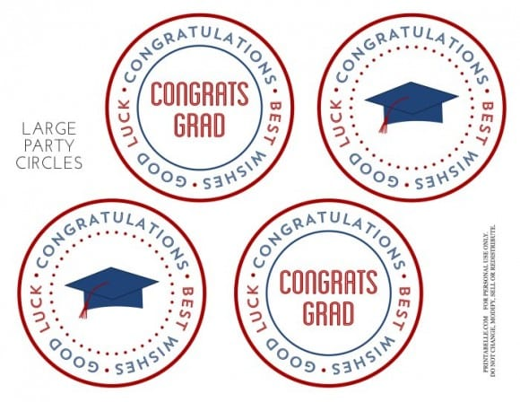 Free Red & Blue Preppy Graduation Party Printable Circles | CatchMyParty.com